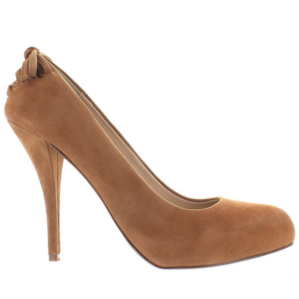 Chinese Laundry Don't Stop - Camel Suede Corset Back High Heel Pump DONTSTOP-CAMEL SUEDE - Size 5