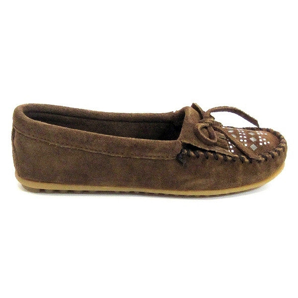 Minnetonka Studded Moc - Dusty Brown Moccasin Loafer