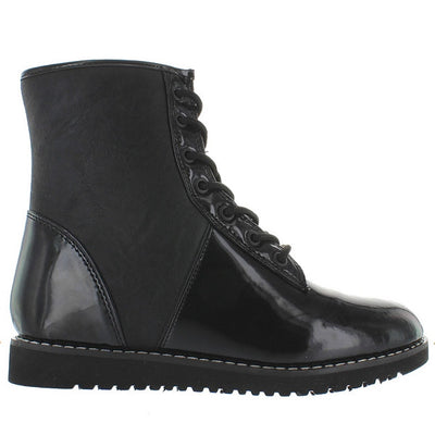 YRU Monkey - Black Patent Combat Boot