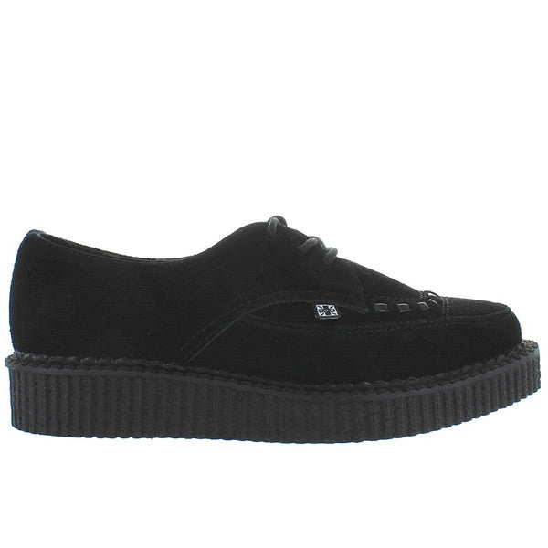 T.U.K. Pointed Creeper - Black Suede Ribbed Platform Oxford