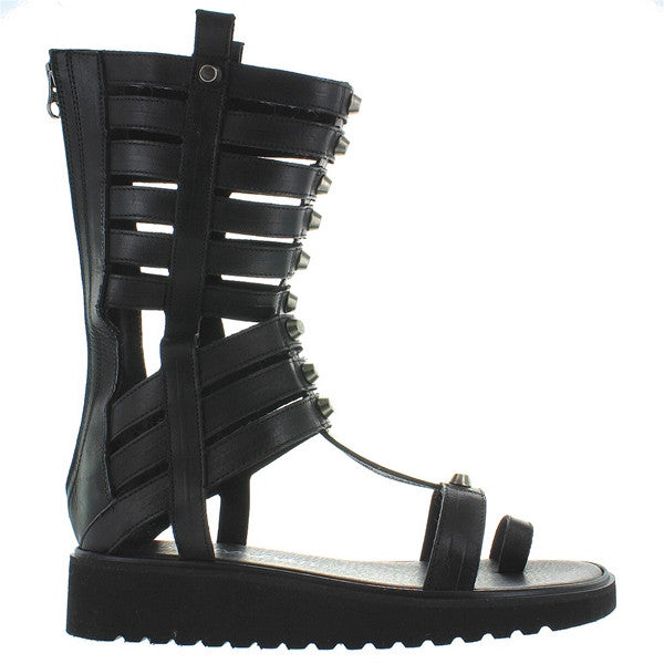 MTNG Alexandra - Black Leather Caged Gladiator Boot