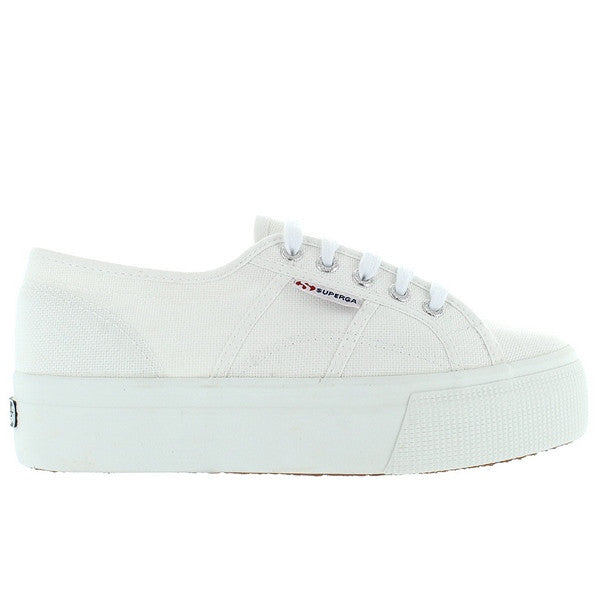 Superga 2790 ACOTW - White Canvas Lace-Up Platform Sneaker