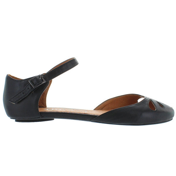 Jeffrey Campbell Imogen - Black Leather Petal-Toe Flat