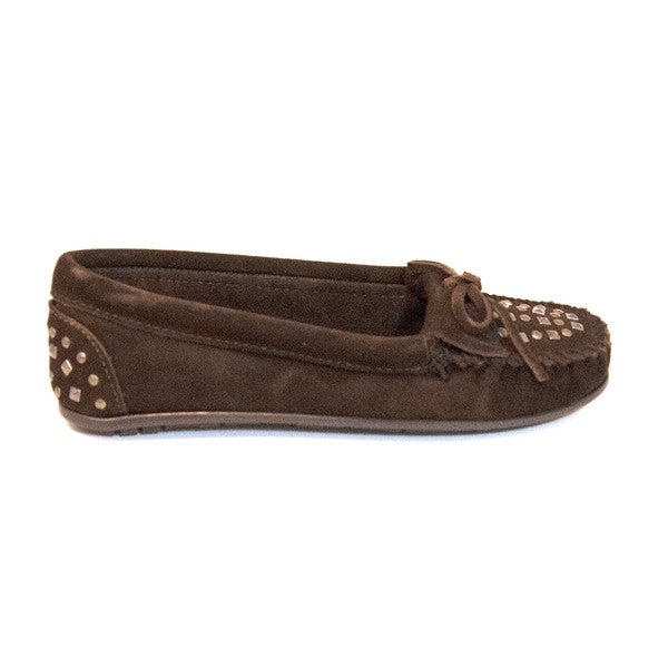 Minnetonka Double Studded Moccasin - Chocolate Loafer