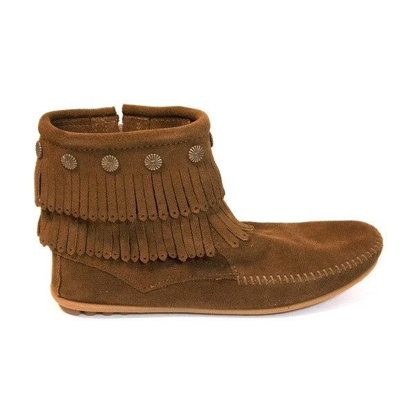 Minnetonka Double Fringe Side Zip - Dusty Ankle Boot