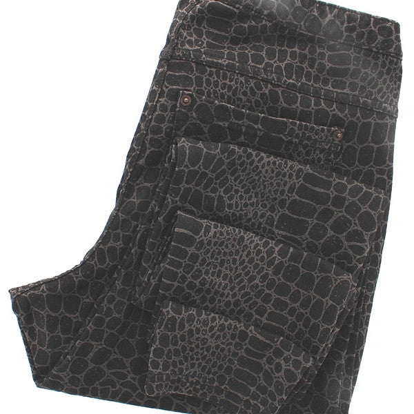 Hue Skinny Jeanz Leggings - Black Croc Print Jean Leggings