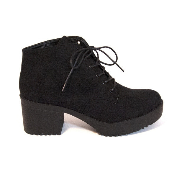 Wanted Knockout - Black Suede Platform Shoe