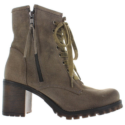 MTNG Callie - Antique Silver Suede Combat Boot