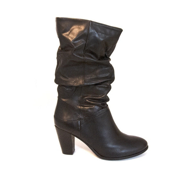 Steve Madden Lorreta - Black Leather Slouch Boot