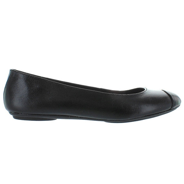 Hush Puppies Chaste Toe Cap - Black Leather Ballet Flat