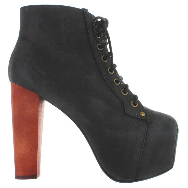 Jeffrey Campbell Lita - Black Distressed Leather High Platform/Heel Lace-Up Bootie
