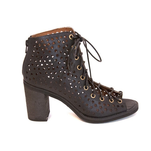 Jeffrey Campbell Corstars - Black Leather Lace-Up Bootie