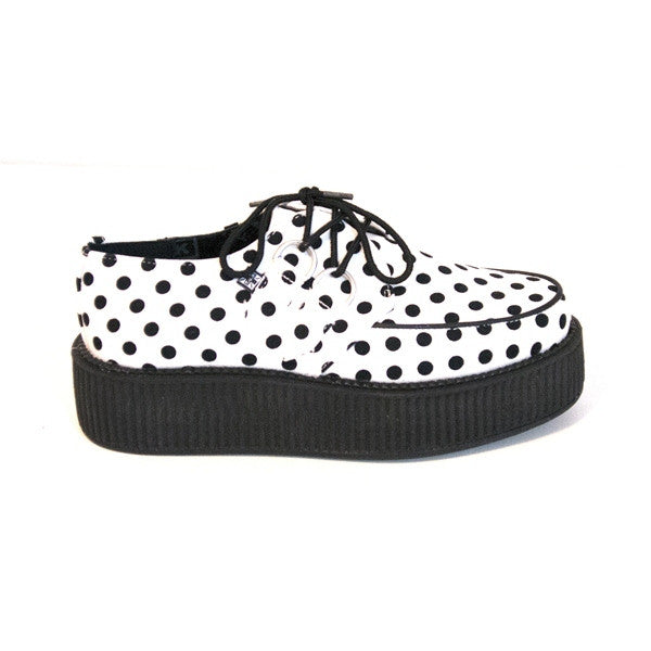 T.U.K. Creeper - White/Black Polka Dot Platform