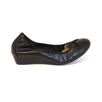 Hush Puppies Candid Pump - Black Leather Ballet Wedge