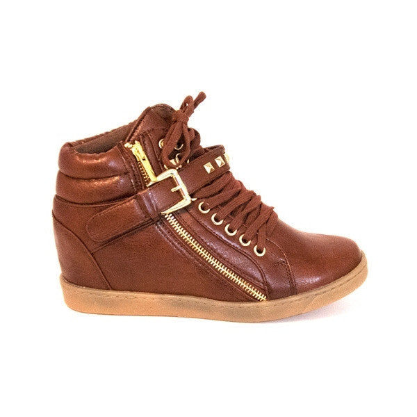 Wanted Aberdeen - Brown Wedge Sneaker