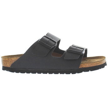 Birkenstock Arizona - Black Leather Birko Flor Dual Buckle Slip-On Footbed Sandal 51793 - Size 35