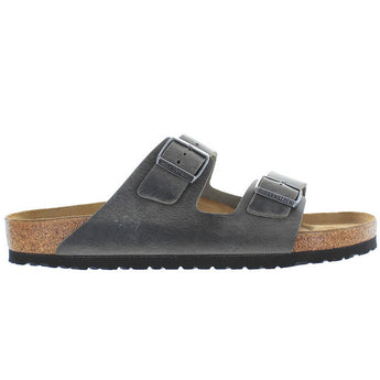 Birkenstock Arizona - Iron Oiled Leather Dual Buckle Slip-On Footbed Sandal