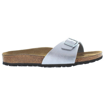 Birkenstock Madrid - Silver Leather Birko Flor Slip-On Footbed Sandal 40413 - Size 35