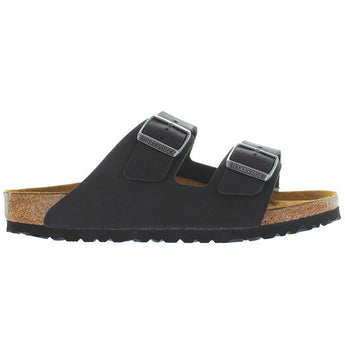 Birkenstock Arizona - Black Oiled Leather Dual Buckle Slip-On Footbed Sandal