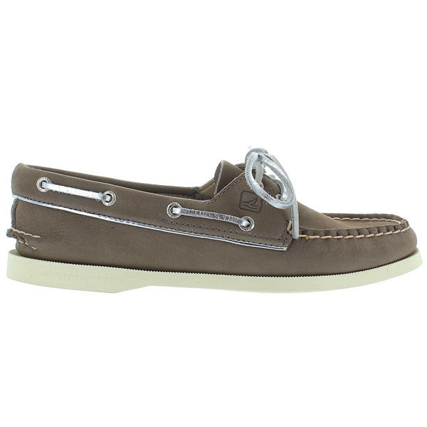 Sperry Top-Sider A/O - Metallic Piping-Greige/Silver Boat Shoe