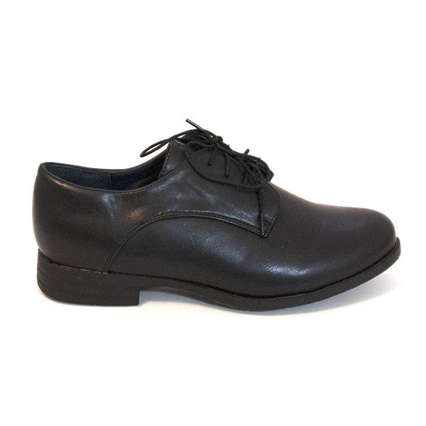 Chelsea Crew Bobby - Black Lace-Up Flat Oxford