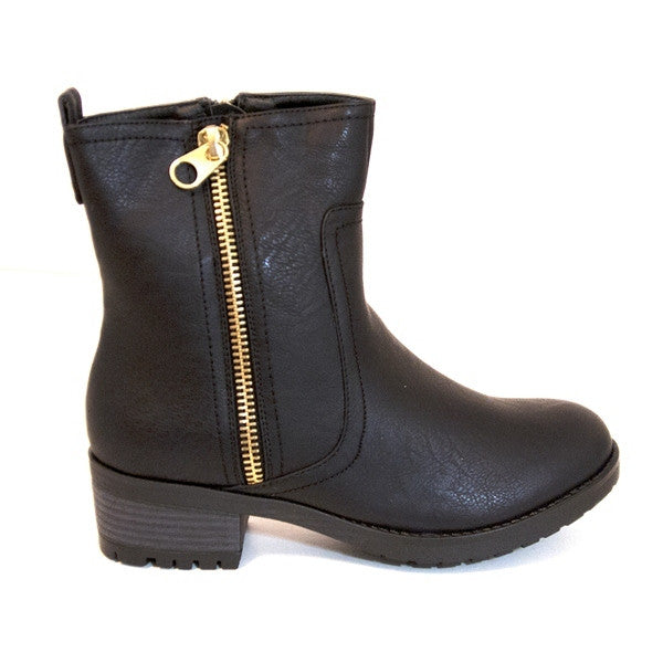 Wanted Channing - Black Short Dual-Zip Flat Boot