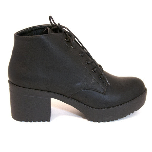 Wanted Knockout - Black Smooth Platform/Mid-Heel Lace Boot