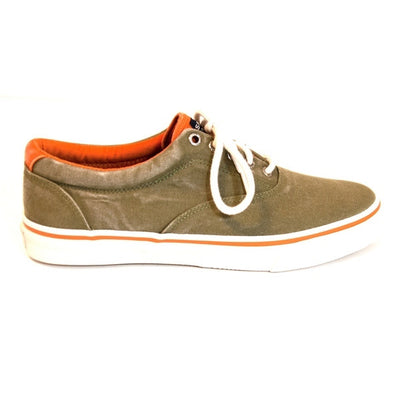 Sperry Top-Sider Striper Color - Olive/Orange Laceless Canvas Sneaker