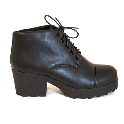 Chelsea Crew Rock - Black Lace-Up Mid-Heel Oxford
