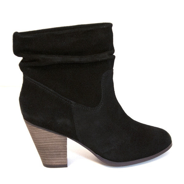 Chinese Laundry Under Cover - Black Suede Short Mid-Heel Boot UNDERCOVER-BLK SUEDE - Size 5
