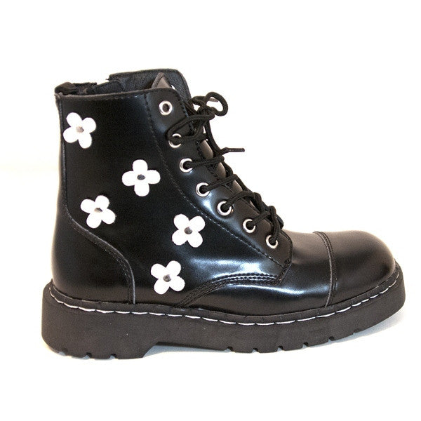 T.U.K. Anarchic Daisy Boot - Black Short 7-Eye Combat
