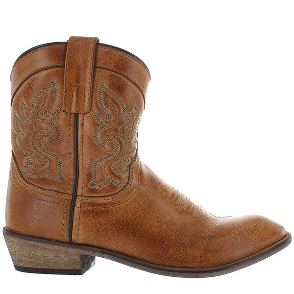 Dingo Willie - Antique Tan Leather Short Cowboy Boot