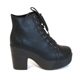 Dirty Laundry Campus Queen - Black Short Lace Platform Boot