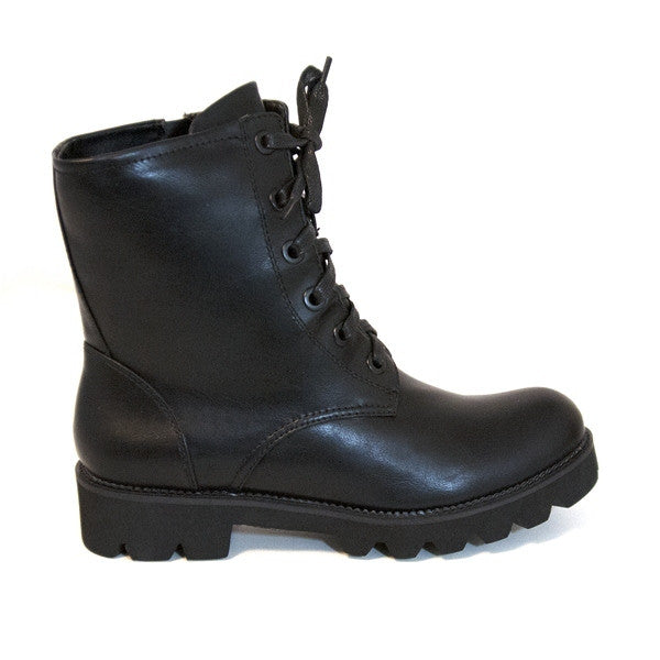 Wanted Turf - Black Zip-Lace-Up Lug Combat Boot