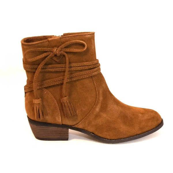 Minnetonka Mesa - Brown Suede Short Western-Style Ankle Boot