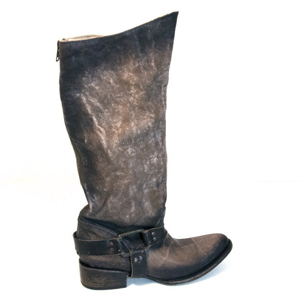 Freebird Philly - Grey Distressed Leather Tall Harness Western Boot