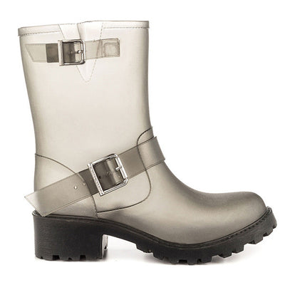 SixtySeven Billie - Smoke Rubber Engineer-Style Waterproof Rain Boot