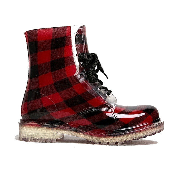 Dirty Laundry Roadie - Buffalo Plaid Short Lace-Up Rain Boot