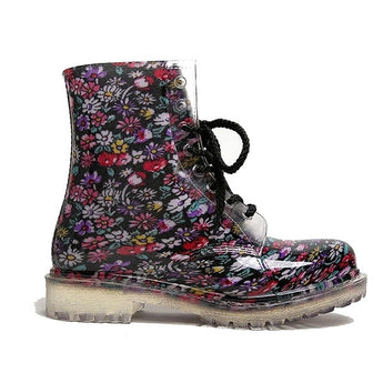Dirty Laundry Roadie - Floral /Black Floral Short Lace-Up Rain Boot