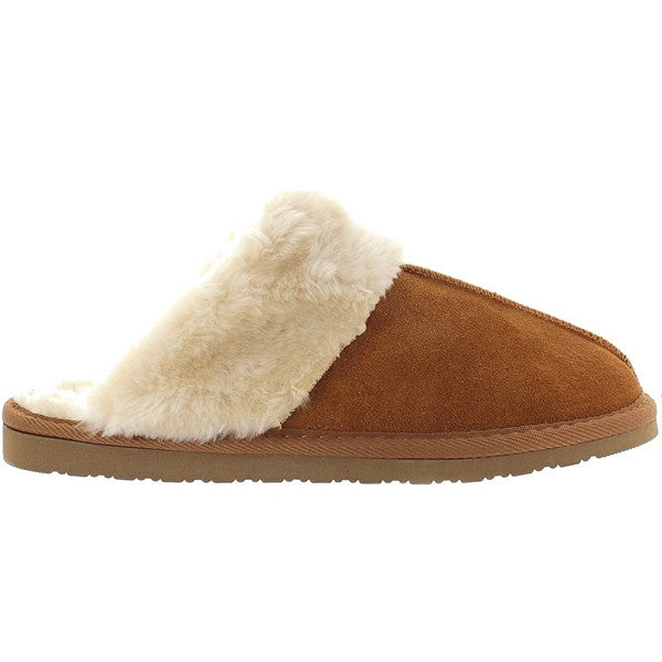 Minnetonka Chesney Scuff - Cinnamon Suede Furry Cuff Slipper/Shoe