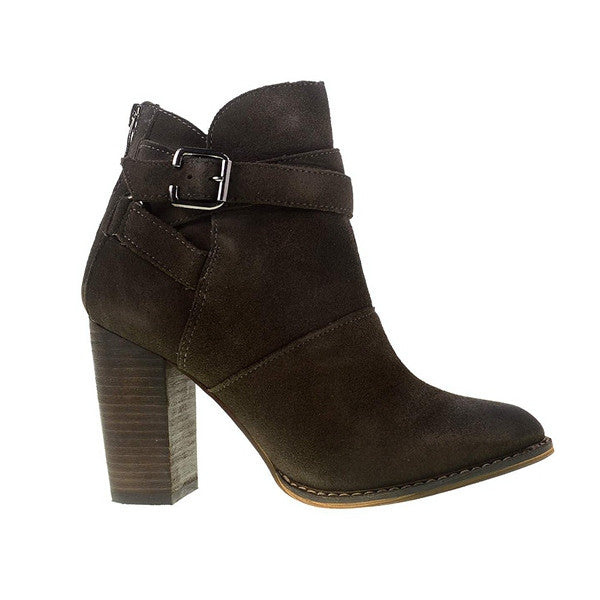 Chinese Laundry Zipit - Smoke Suede Short Buckle High-Heel Boot ZIPIT-GREY SUEDE - Size 5