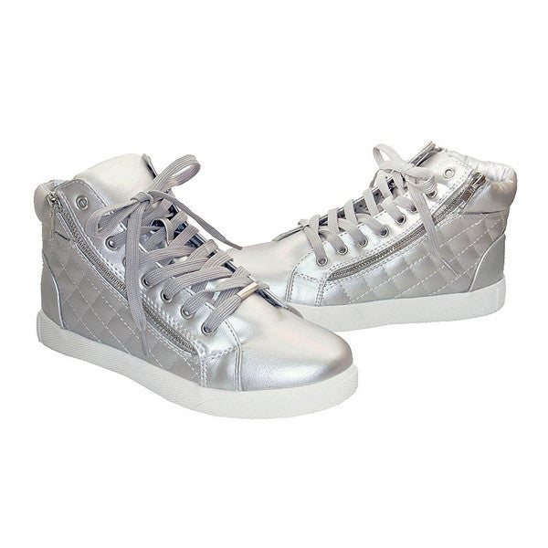 d7da8024fe3 Steve Madden Decaf - Silver High-Top Quilted Lace-Up Sneaker – Kixters.com