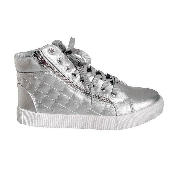 Steve Madden Decaf - Silver High-Top Quilted Lace-Up Sneaker