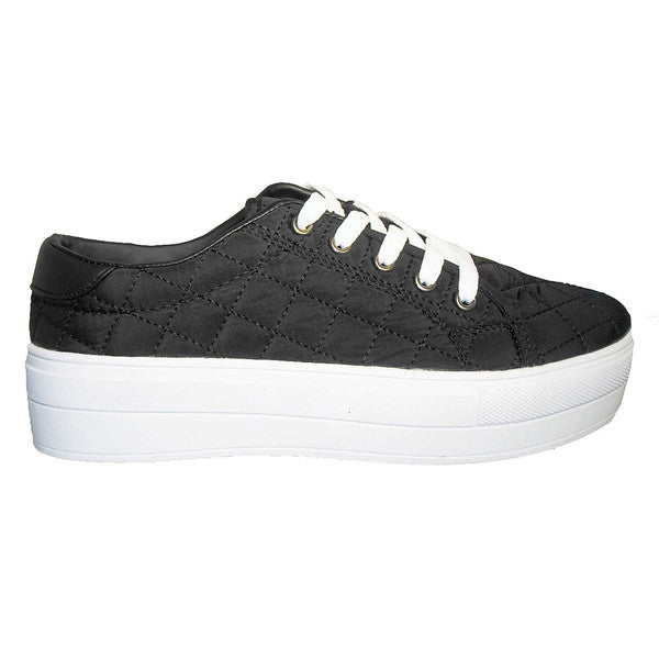 Wanted Monorail - Black Quilted Nylon Lace-Up Platform Sneaker