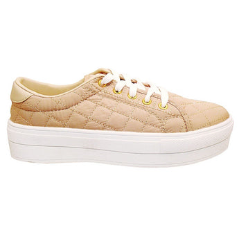 Wanted Monorail - Natural Quilted Nylon Lace-Up Platform Sneaker