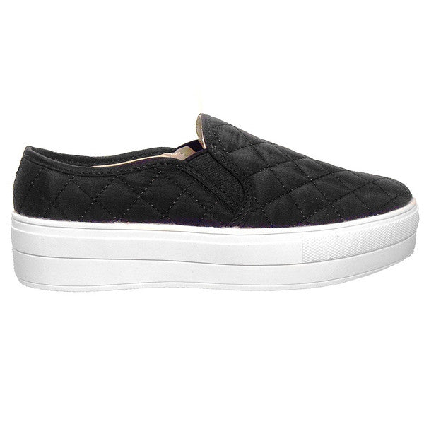 Wanted Railway - Black Quilted Nylon Slip-On Platform Sneaker