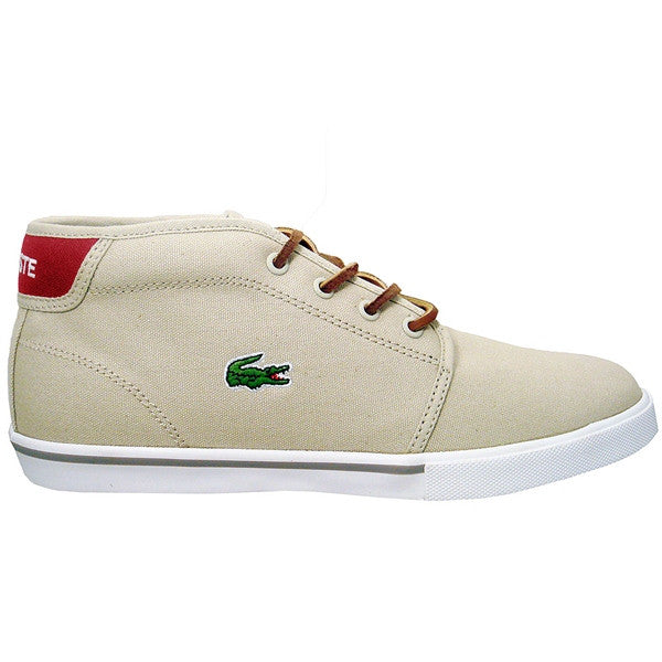 Lacoste Ampthill TBC - Natural/Dark Red Lace-Up High Top Sneaker