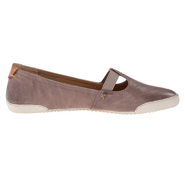 Frye Boot Melanie T Strap - Grey Leather Comfort Sneaker