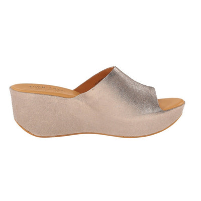Kork-Ease Greer - Bronze Leather Slide Wedge Sandal