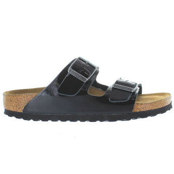Birkenstock Arizona - Black Patent Dual Buckle Slip-On Footbed Sandal
